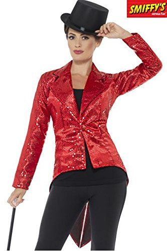 Sequin Tailcoat Jacket, Ladies, Red -  (Size: UK Dress 8-10)