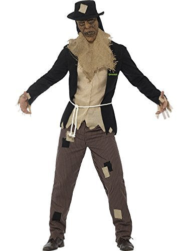 "Goosebumps The Scarecrow Costume, Black, with Jacket & Mock Shirt, Trousers, Rope, Mask & Hat -  (Size: Chest 38""-40"", Leg Inseam 32.75"")"