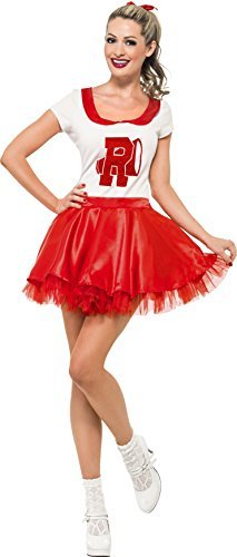 Sandy Cheerleader Costume, Red & White, with Skirt & Top -  (Size: UK Dress 12-14)