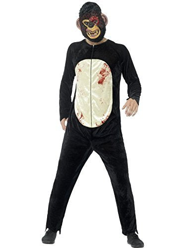 Deluxe Zombie Chimp Costume, Black, with Bodysuit & EVA Mask -  (Size: Chest 38`-40`, Leg Inseam 32.75`)