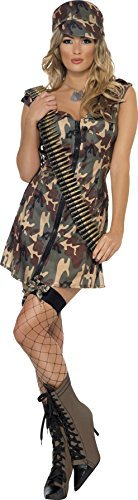 Army Girl Costume, Camouflage, with Dress & Hat -  (Size: UK Dress 12-14)