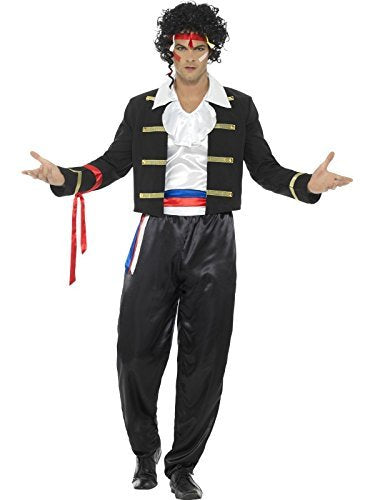 "80s New Romantic Costume, Black, with Jacket, Trousers, Shirt & Headband -  (Size: Chest 42""-44"", Leg Inseam 33"")"