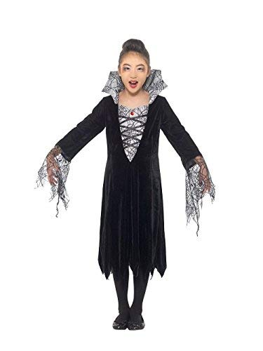 Spider Vampire Costume, Black & Silver, with Dress with Attached Collar -  (Size: Medium Age 7-9)