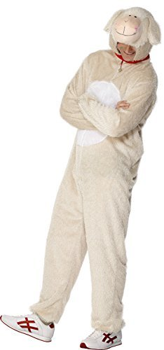 "Lamb Costume, Cream, includes Jumpsuit with Hood -  (Size: Chest 38""-40"", Leg Inseam 32.75"")"