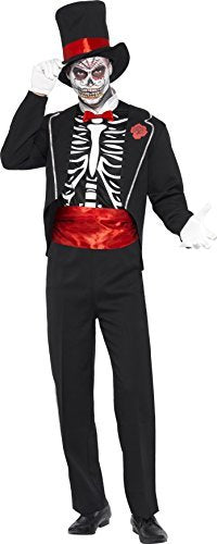 "Day of the Dead Costume, Black, with Jacket, Mock Shirt Front, Hat and Gloves -  (Size: Chest 38""-40"", Leg Inseam 32.75"")"