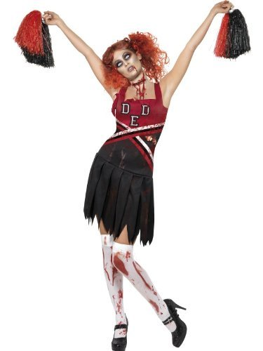 High School Horror Cheerleader Costume, Red & Black, with Dress & Pom Poms -  (Size: UK Dress 8-10)