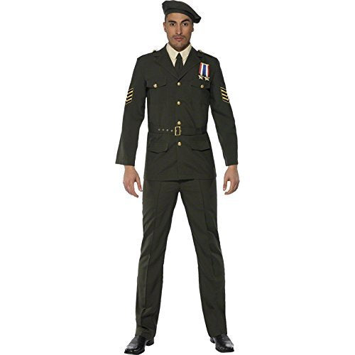 "Wartime Officer, Green, Beret, Tie, Trousers, Belt and Jacket -  (Size: Chest 42""-44"", Leg Inseam 33"")"
