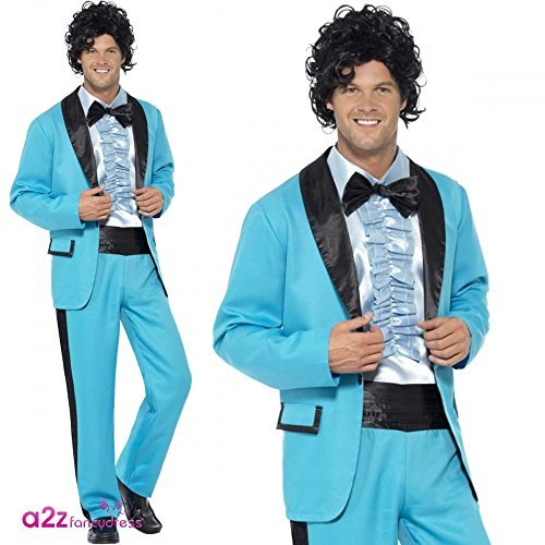 "80s Prom King Costume, Blue, with Jacket, Trousers and Mock Tuxedo Shirt -  (Size: Chest 42""-44"", Leg Inseam 33"")"