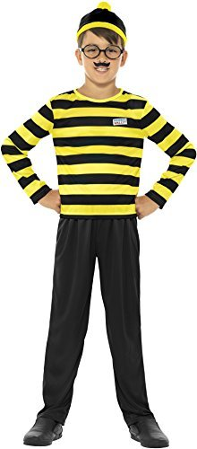 Where's Wally Odlaw Costume, Black & Yellow, with Top, Trousers, Hat, Moustache & Glasses -  (Size: Medium Age 7-9)