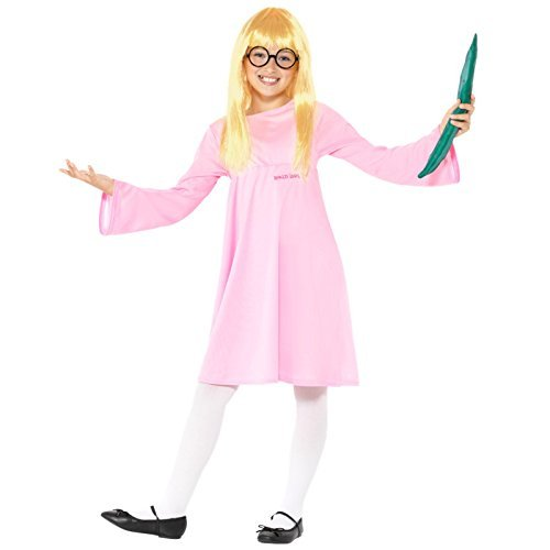 Roald Dahl Deluxe Sophie Costume, Pink, with Dress, Glasses, Wig & Snozzcumber -  (Size: Large Age 10-12)