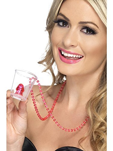 Hen Night Willy Shot Glass, Pink, on Necklace