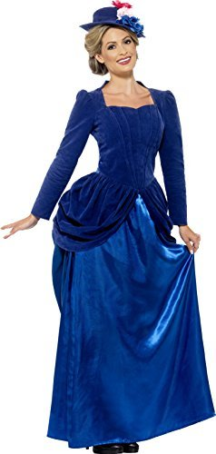 Victorian Vixen Deluxe Costume, Blue, with Top, Skirt & Hat -  (Size: UK Dress 8-10)