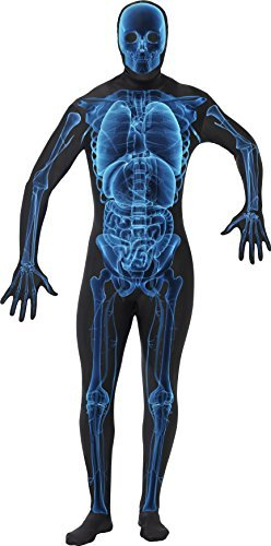 "X Ray Costume, Second Skin Suit, Blue & Black, with Concealed Fly and Under Chin Opening -  (Size: Chest 42""-44"", Leg Inseam 33"")"