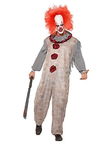 Vintage Clown Costume, Grey & Red, with Jumpsuit & Neck Ruffle -  (Size: Chest 46`-48`)