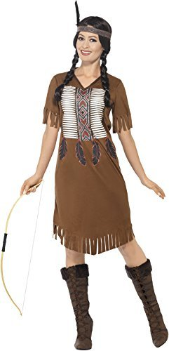 Native American Inspired Warrior Princess Costume, Brown, with Dress & Headband -  (Size: UK Dress 12-14)