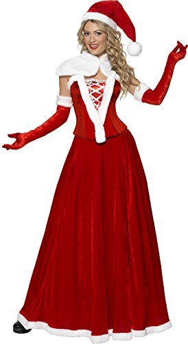Luxury Miss Santa Costume, Red, with Hat, Cape, Corset, Skirt & Gloves -  (Size: UK Dress 16-18)