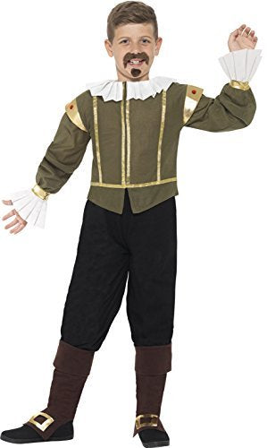 Shakespeare Costume, Green, Jacket, Trousers, Bootcovers, Tash & Goatee -  (Size: Medium Age 7-9)