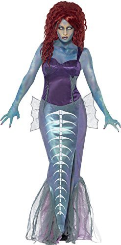 Zombie Mermaid Costume, Purple, with Top & Fishtail Skirt -  (Size: UK Dress 8-10)