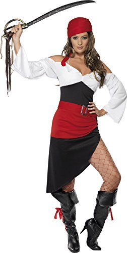 Sassy Pirate Wench Costume with Skirt, Black, Top, Belt and Headscarf -  (Size: UK Dress 8-10)