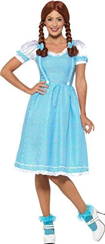 Kansas Country Girl Costume, Blue & White, with Dress & Hair Bows -  (Size: UK Dress 20-22)