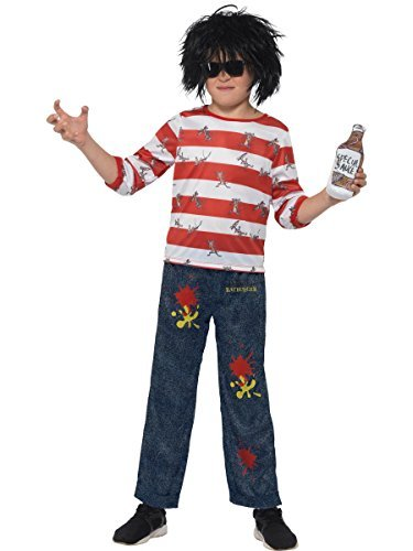 David Walliams Deluxe Ratburger Costume, Red & White, with Top, Trousers, Wig, Glasses & Special Sauce Accessory with Sound Chip -  (Size: Small Age 4-6)