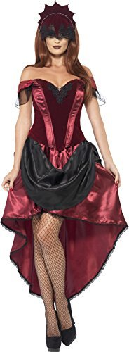 - Venetian Temptress Costume, Red, with Top, Skirt & Headpiece -  (Size: UK Dress 8-14) COST-UNI