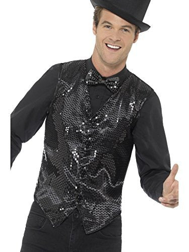 "Sequin Waistcoat, Black -  (Size: Chest 42""-44"", Leg Inseam 33"")"
