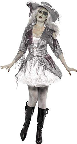 Ghost Ship Pirate Treasure Costume, Grey, with Dress & Hat -  (Size: UK Dress 4-6)