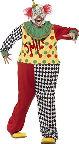 "Sinister Clown Costume, Black, with Hooped Jumpsuit & Latex Full Overhead Mask -  (Size: Chest 38""-40"", Leg Inseam 32.75"")"