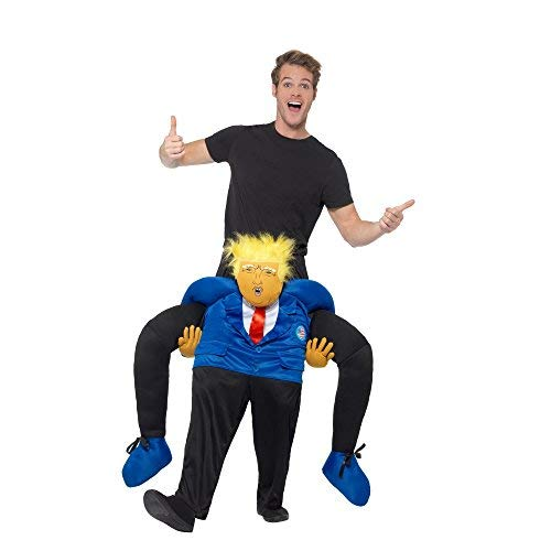 Piggyback President Costume, Black & Blue, with One Piece Suit with Mock Legs
