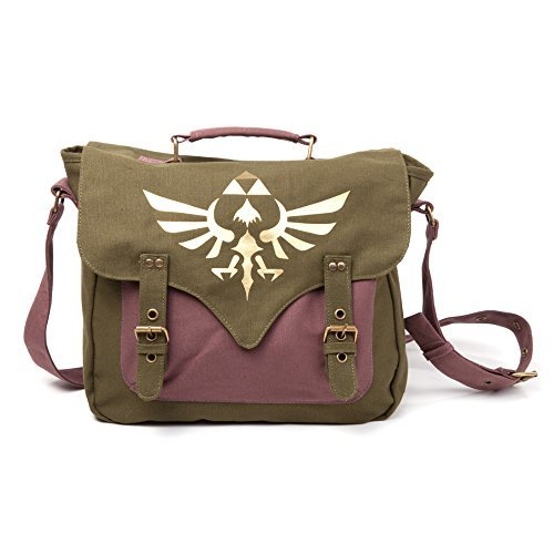 NINTENDO - NINTENDO Legend of Zelda Skyward Sword Golden Royal Crest Unisex Canvas Messenger Bag, One Size, Green/Mauve (MB060223NT