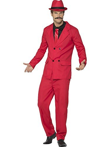 "Zoot Suit, Red, with Jacket, Trousers, Hat, Mock Shirt & Tie -  (Size: Chest 42""-44"", Leg Inseam 33"")"