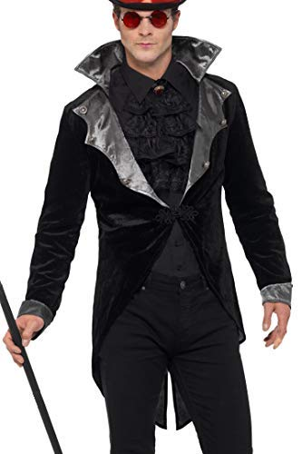 Gothic Vampire Jacket, Black, with Collar -  (Size: Chest 46`-48`)