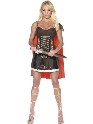 Fever Gladiator Costume, Brown, with Dress & Attached Cape -  (Size: UK Dress 8-10)