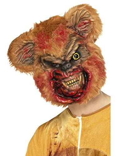 Zombie Teddy Bear Mask, Brown, EVA, with Fur