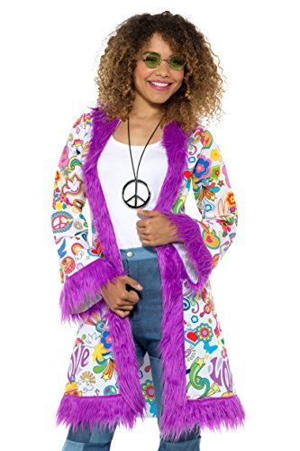 60s Groovy Hippie Coat, Multi-Coloured, with Fur Trim -  (Size: Bust up to 38.5` / Waist up to 30.5` / Hip up to 41` / Leg Inseam 32.75`)