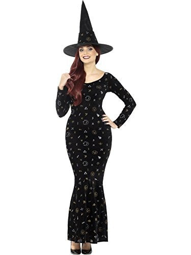 Deluxe Black Magic Ouija Witch Costume, Black, with Velour Dress & Hat -  (Size: UK Dress 8-10)