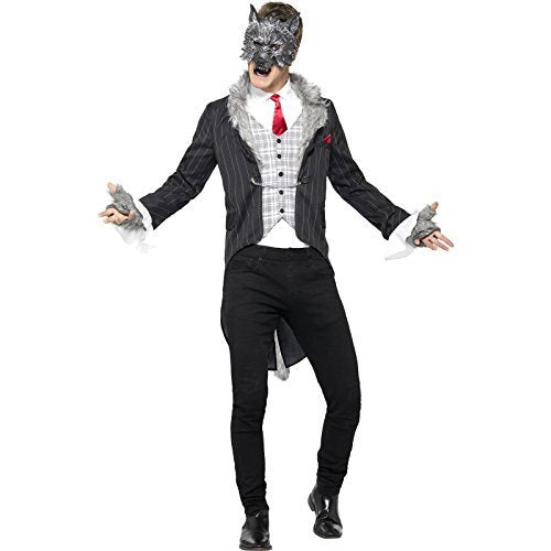 "Big Bad Wolf Costume, Deluxe, Grey, with Jacket, Detachable Tail, Mock Shirt, Mask & Gloves -  (Size: Chest 38""-40"", Leg Inseam 32.75"")"