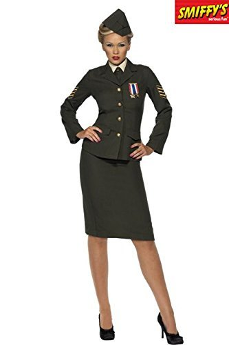 Wartime Officer Costume, Green, Skirt, Jacket with Medal, Shirt Front, Tie, Hat -  (Size: UK Dress 8-10)
