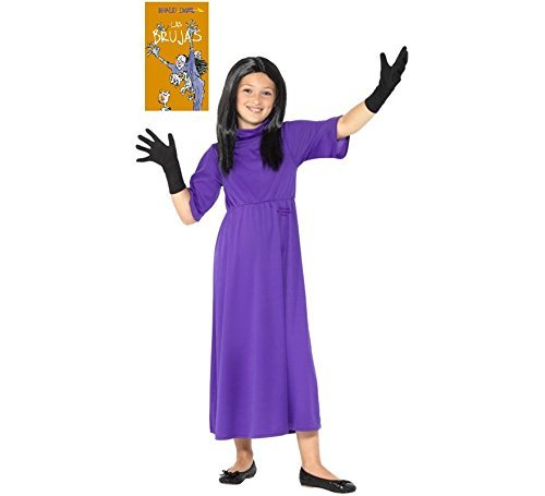 Roald Dahl Deluxe The Witches Costume, Purple, with Dress, Wig & Gloves -  (Size: Medium Age 7-9)