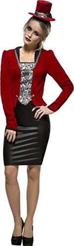 Fever Vampiress Costume, Red, with Zip-Through Skirt, Jacket, Mock Corset & Hat -  (Size: UK Dress 12-14)