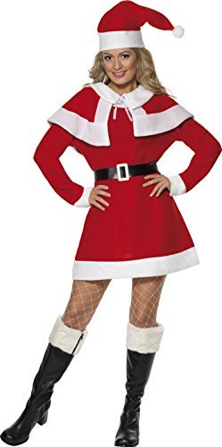 Miss Santa Fleece Costume, Red, with Dress, Cape, Belt & Hat -  (Size: UK Dress 12-14)