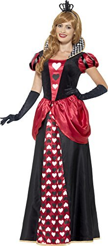 Royal Red Queen Costume, Red, with Dress & Crown -  (Size: UK Dress 8-10)