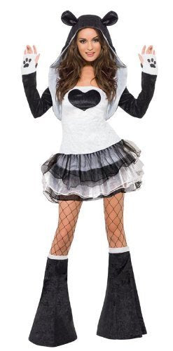 Fever Panda Costume, Tutu Dress, Black & White, with Detachable Clear Straps, Jacket & Bootcovers -  (Size: UK Dress 12-14)
