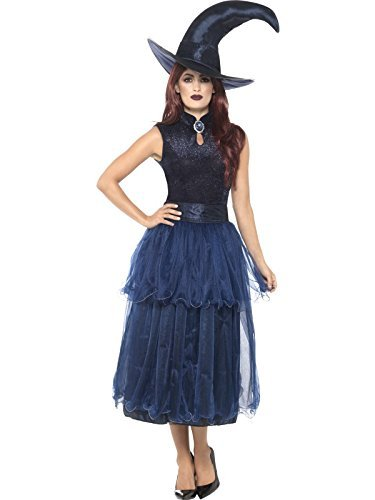 Deluxe Midnight Witch Costume, Blue, with Dress, Belt, Lenticular 3D Print Brooch & Hat -  (Size: UK Dress 16-18)