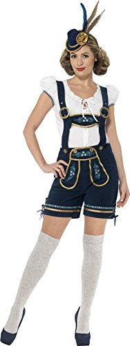 Traditional Deluxe Bavarian Costume, Blue, with Lederhosen & Top -  (Size: UK Dress 8-10)