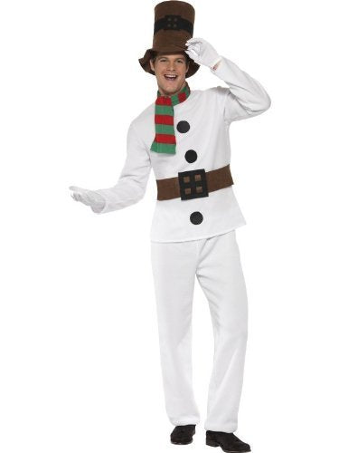 "Mr Snowman Costume, White, with Top, Attached Belt, Trousers, Scarf & Hat -  (Size: Chest 42""-44"", Leg Inseam 33"")"