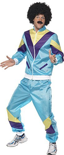 "80s Height of Fashion Shell Suit Costume, Blue, with Jacket & Trousers -  (Size: Chest 46""-48"")"