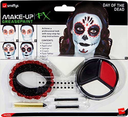 Day of the Dead Make-Up Kit, with Face Paints, Face Tattoo, Gem Stickers, Crayon and Applicators