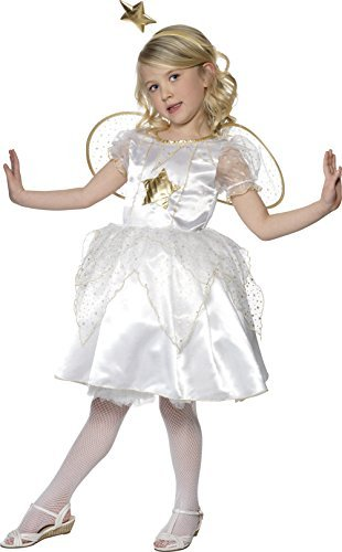 Star Fairy Costume, White, with Dress, Headband & Wings -  (Size: Small Age 4-6)